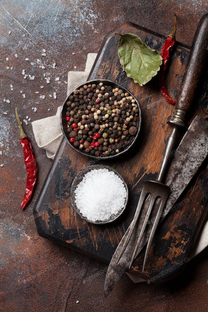 Vintage kitchen utensils and spices