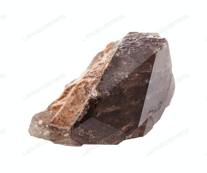 Einkristall aus Rauchquarz Morion isoliert