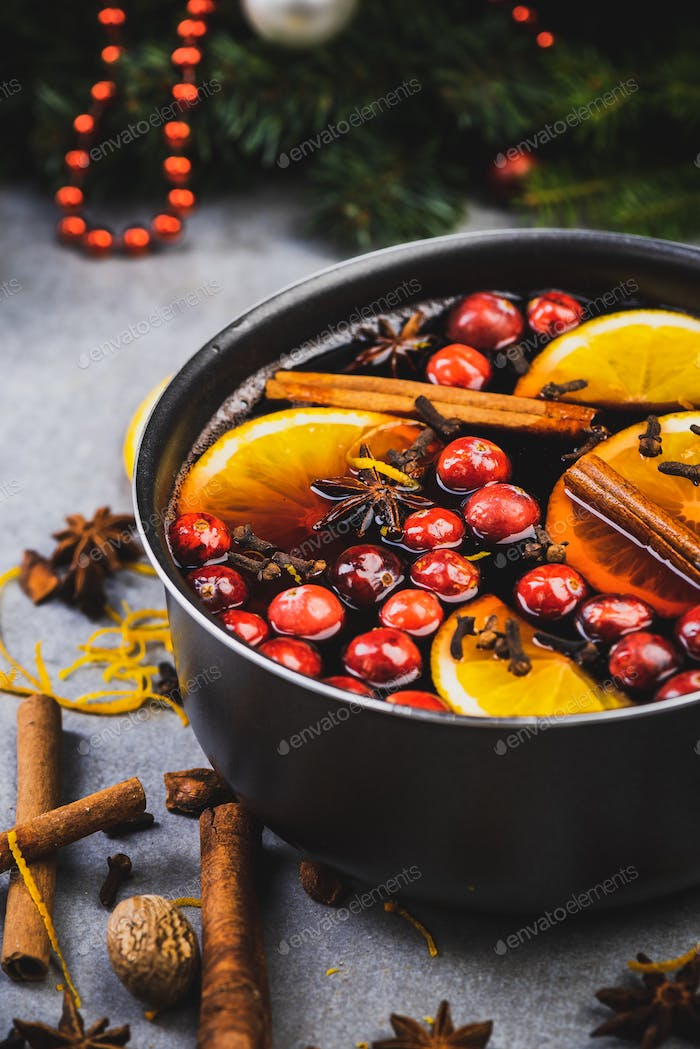 Mulled Wine on Festive Christmas Decorated Table