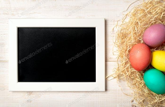 Osterkonzept, Kopierraum, Draufsicht, weißes Holz