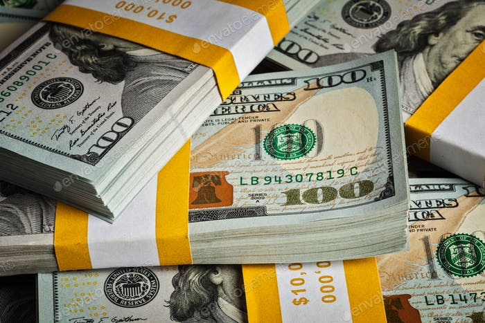 Background of new 100 US dollars banknotes bills