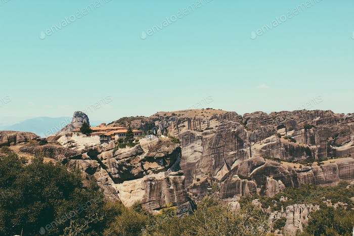The Meteora Monasteries, east of the Pindos Mountains in Greece.