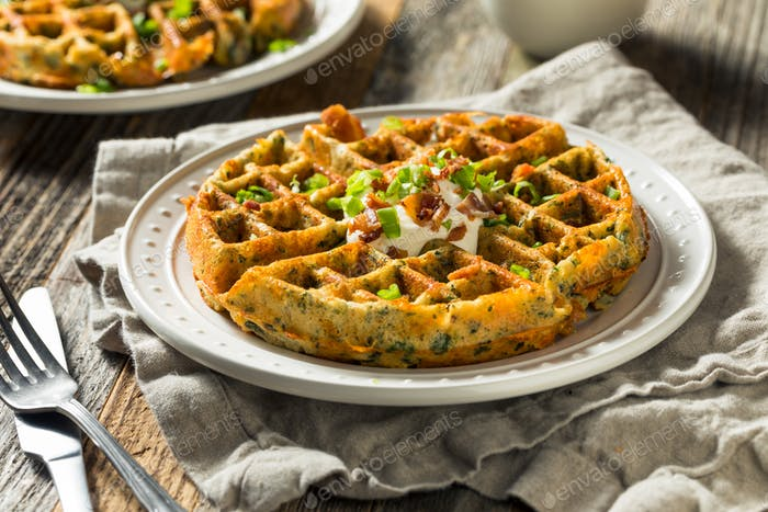 Homemade Savory Waffles with Bacon
