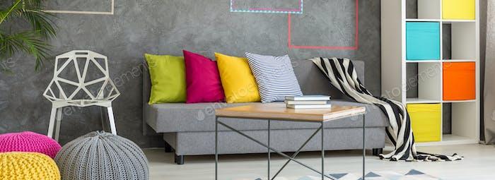 Colorful studio apartment