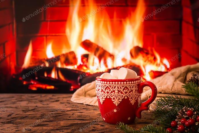 Mug of hot chocolate or coffee
