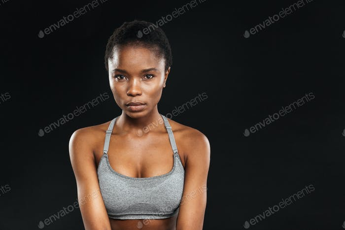 Beauty portrait of afro american fitness woman with perfect skin