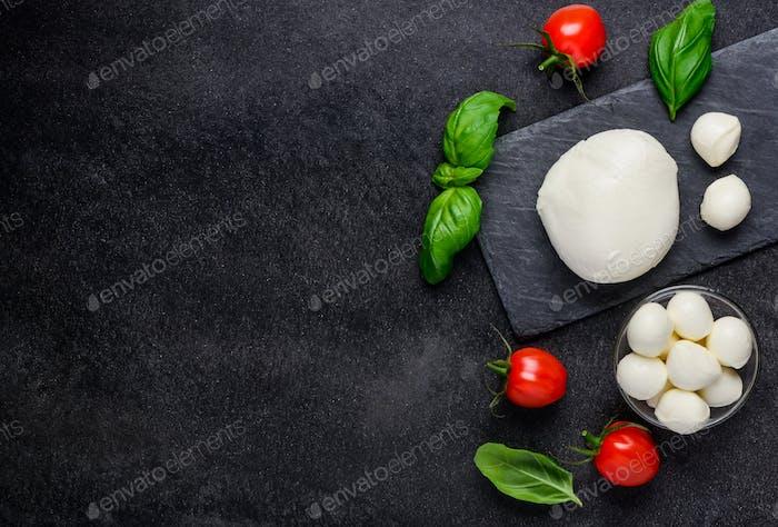 Mozzarella Cheese Balls on Copy Space