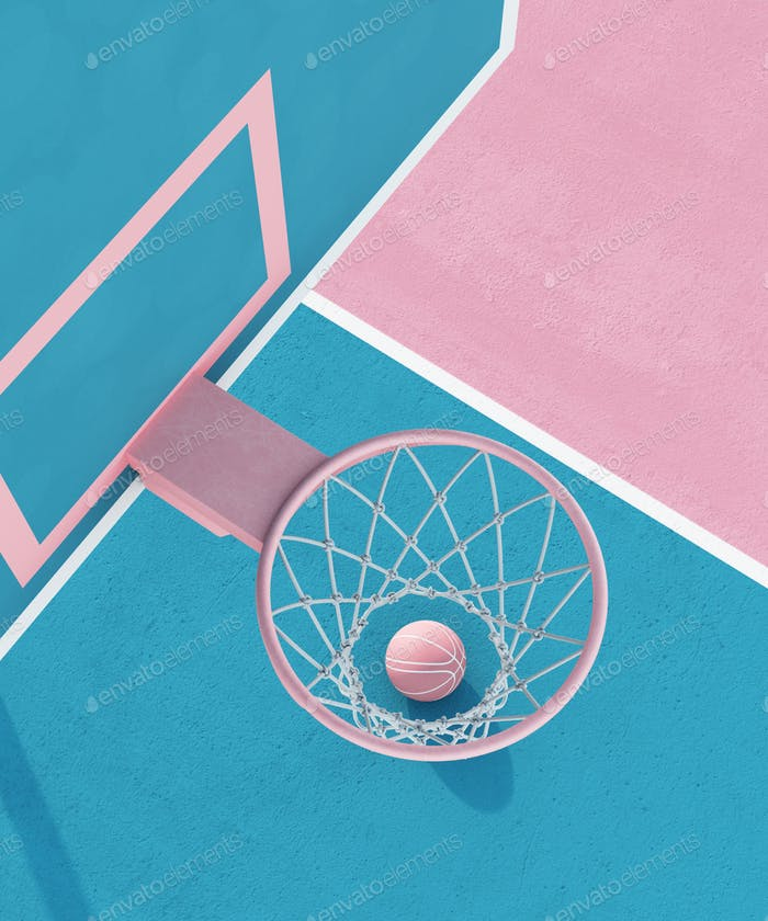 abstract pastel pink blue color basketball court with hoop and ball minimalistic composition. 3d