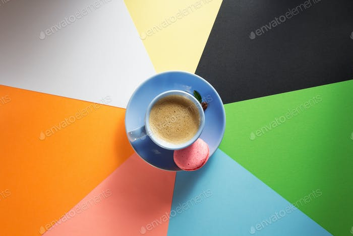 cup of coffee at colorful