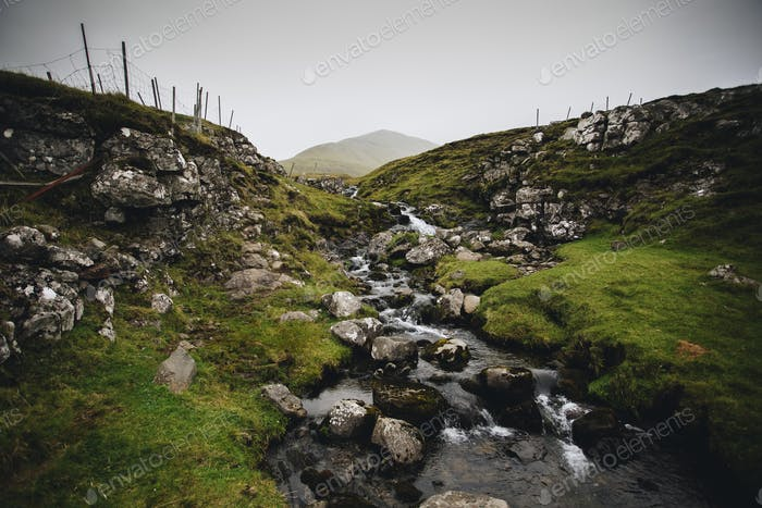 Small Rocky Mountain river in Faroe islands
