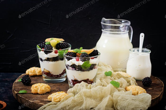 Creamy dessert - Tiramisu with blackberries and red currant