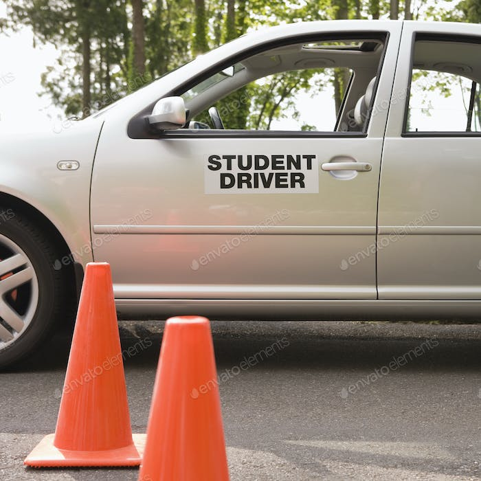 Student Driver Car and Traffic Cones