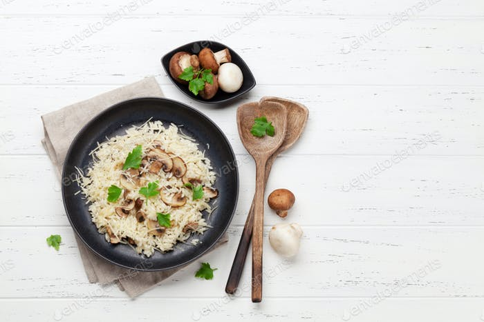 Delicious mushrooms risotto
