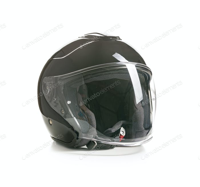 Open face motorcycle helmet.