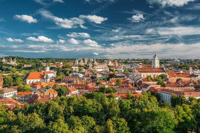 Vilnius, Lithuania. Old Town Historic Center Cityscape Under Dra
