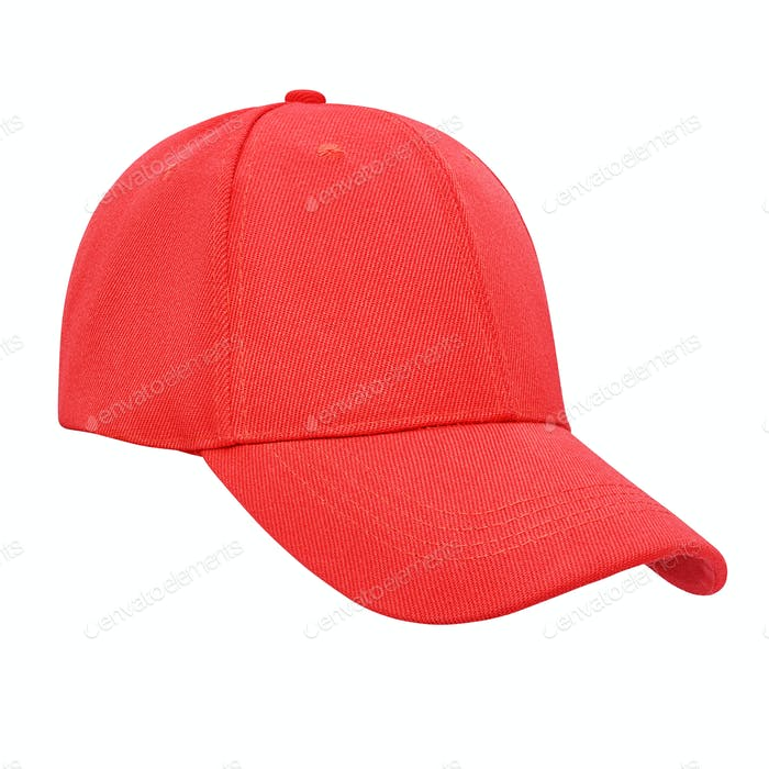 Red baseball cap isolated