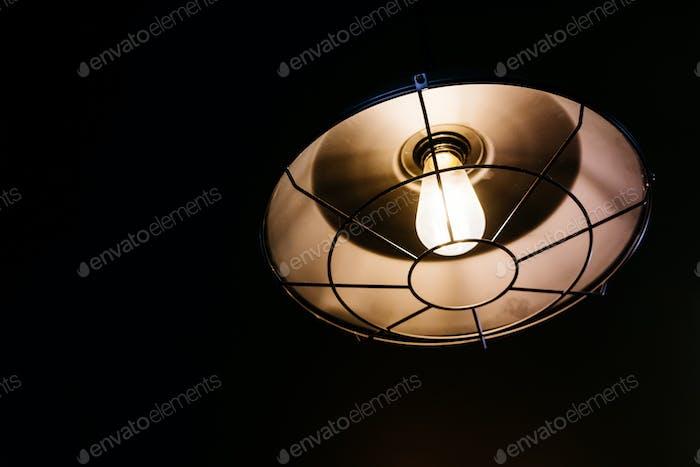 Warm color lamp in dark