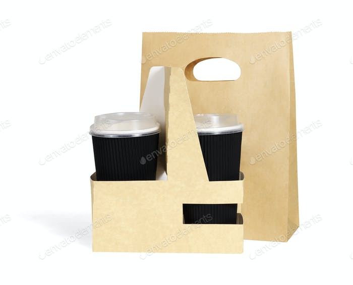 Takeaway Paper Cups and Bag