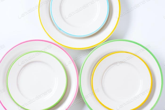 set of rimmed plates