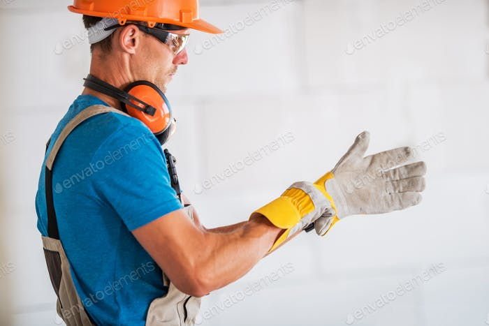 Worker Wearing Safety Gloves