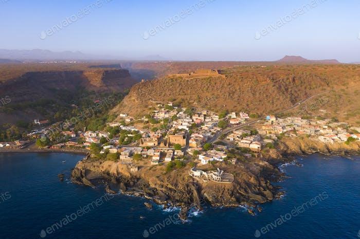 Aerial view Cidade Velha city  in Santiago - Cape Verde - Cabo V