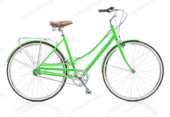 Stylish womens green bicycle isolated on white