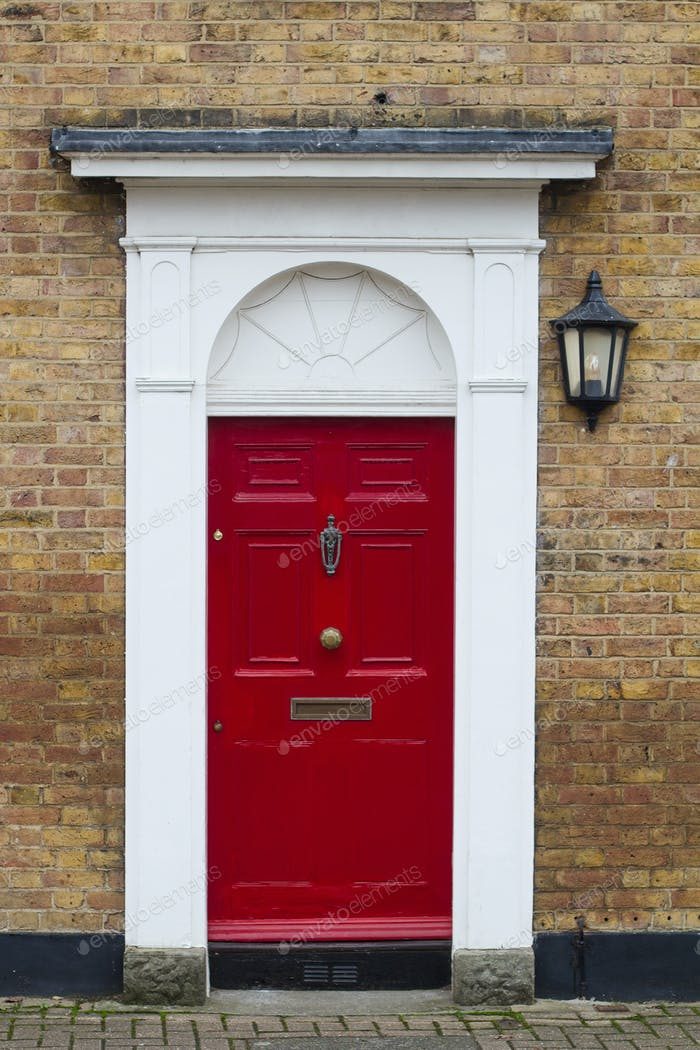 red elegant residential apartment door