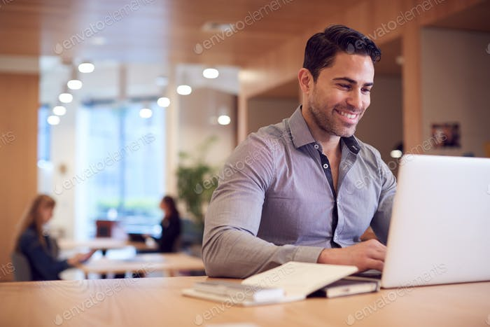 Businessman At Desk In Modern Office Work Space With Laptop