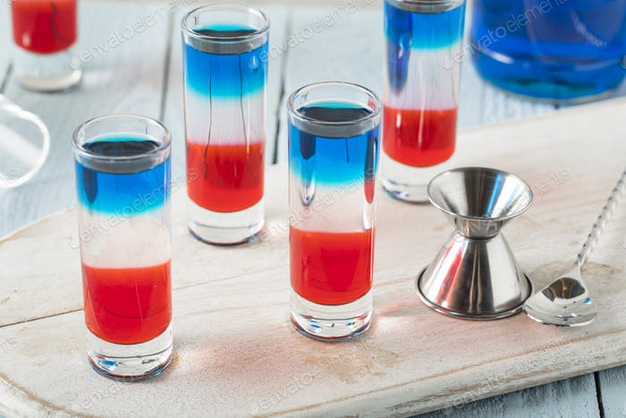 Patriotic Red White and Blue Shots