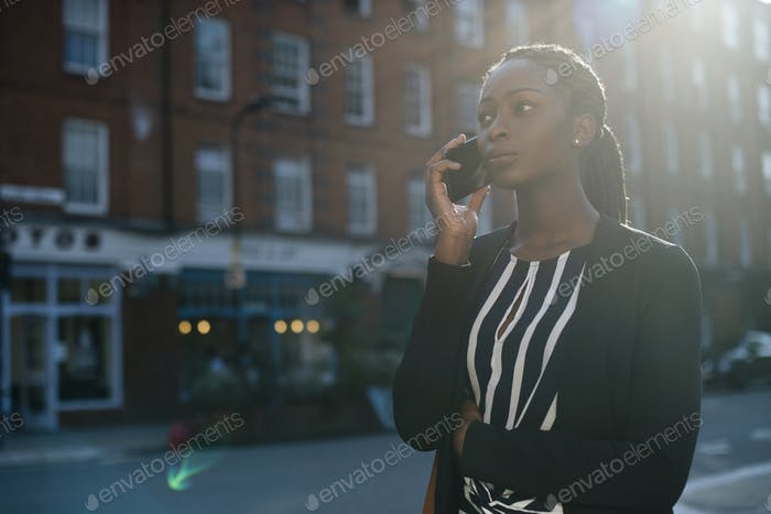 Woman on the phone while walking