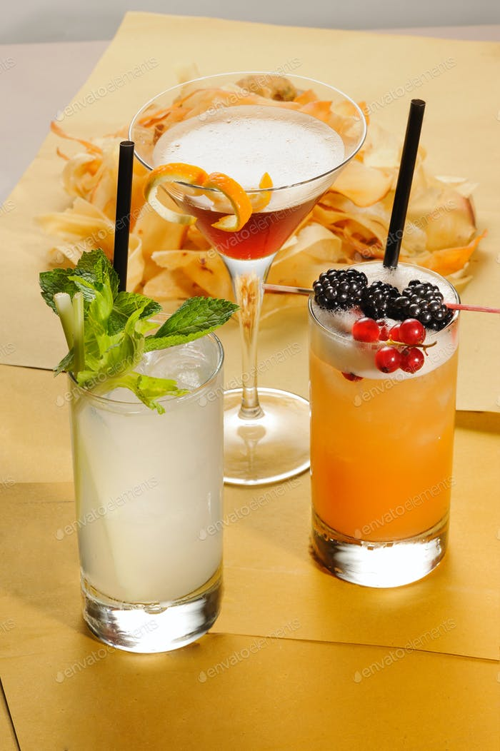 Three different assorted alcoholic cocktails
