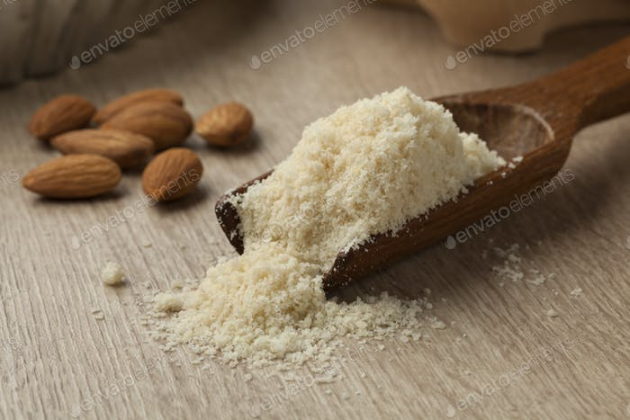 Wooden spoon with almond meal