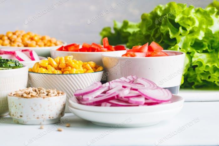 Assortment ingredients vegetarian salad