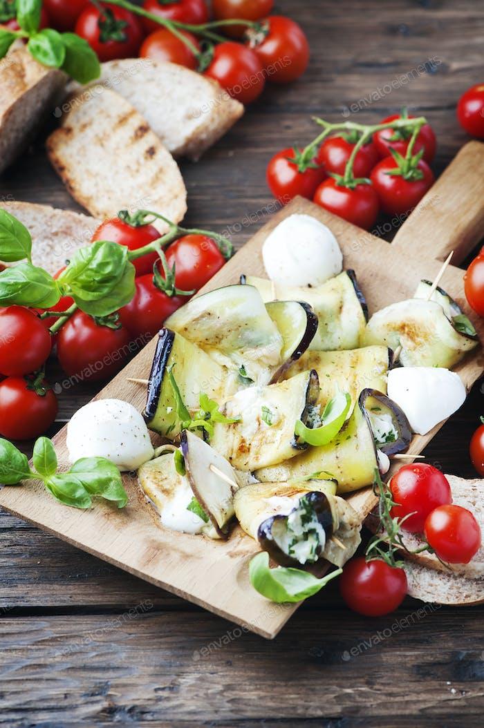 Vegetarian Eggplant rolls with mozzarella
