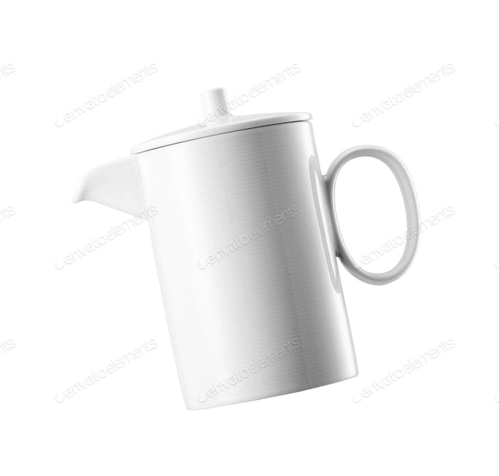 Ceramick teapot on white background