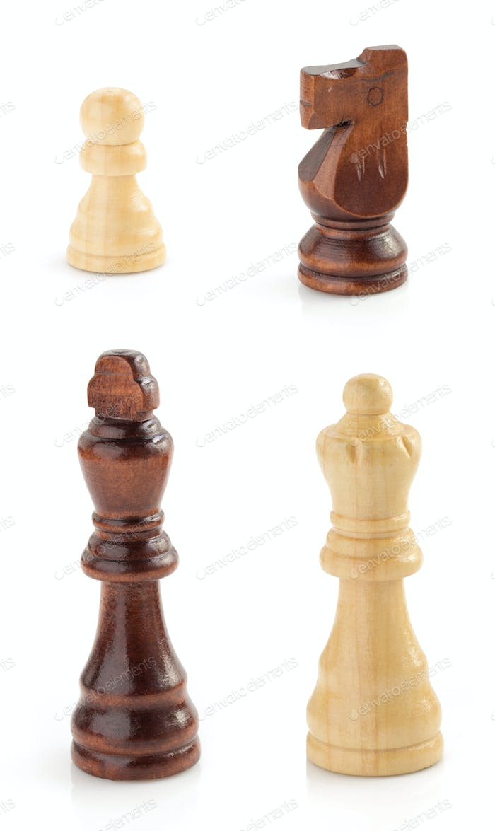 chess figures on white