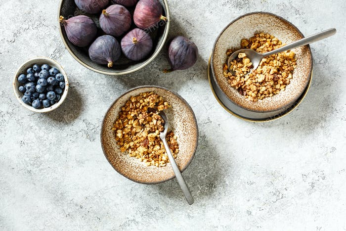 Homemade granola with figs and blueberry. Healthy Breakfast