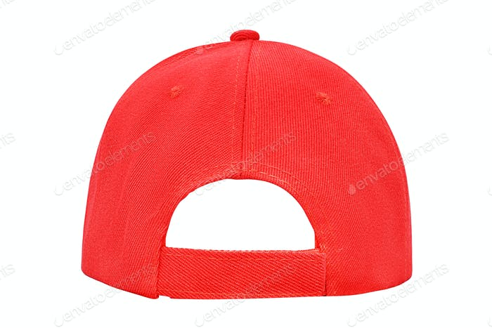 Red baseball cap back view isolated