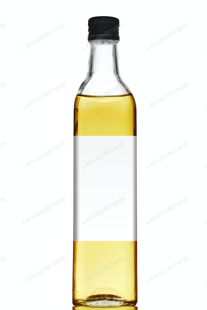 Olive oil bottle with blank label isolated on white