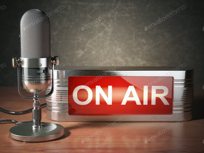 Vintage microphone with signboard on air. Broadcasting radio station concept.