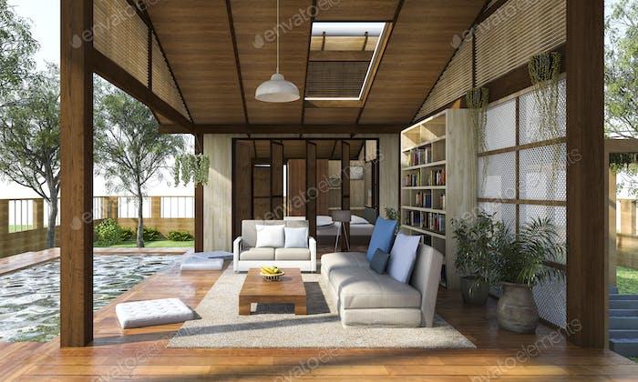 3D Rendering moderne Holz-Wohnzone mit Terrasse