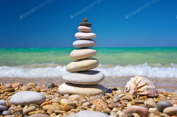 Stone pyramid on a seashore
