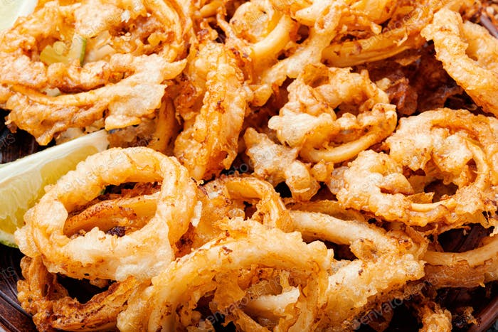 Fried squid rings breaded