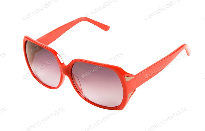Red rimmed sunglasses with mirror ornaments