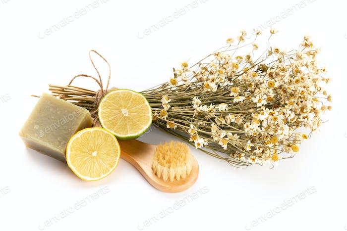 Natural chamomile handmade soap, orande, citrus,on  white background.