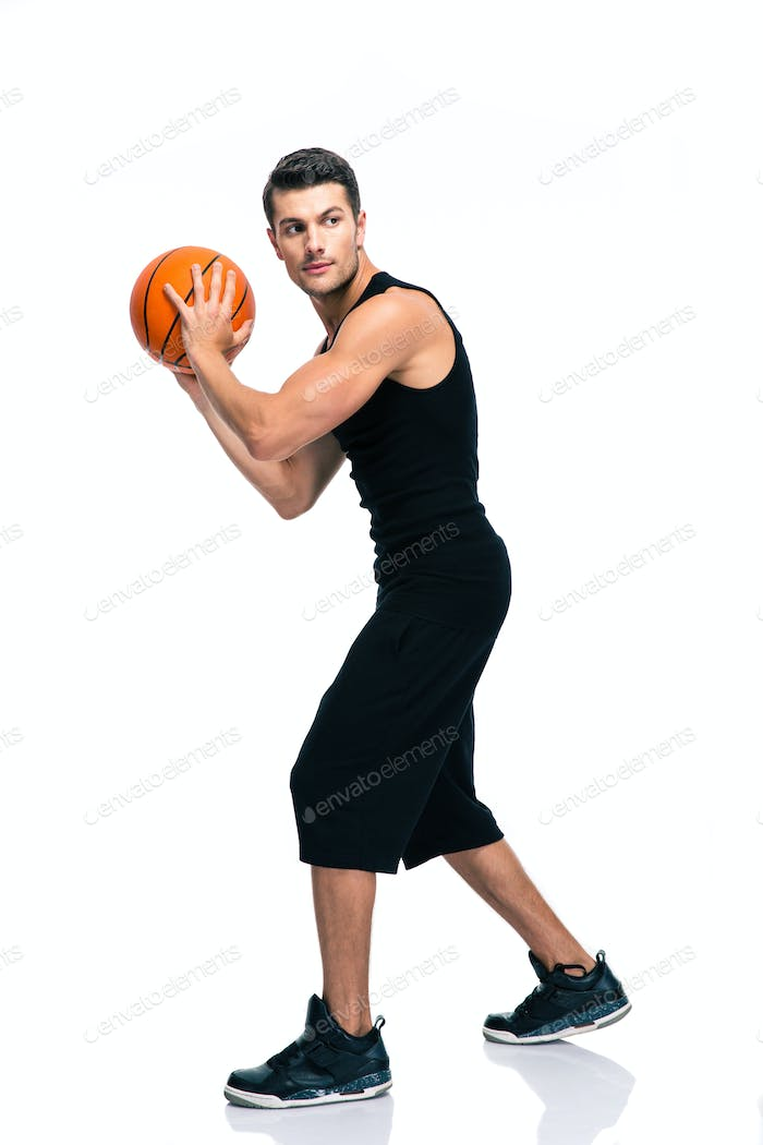 Sports man playing in basketball