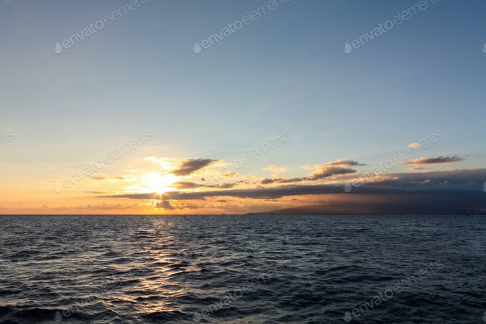sunset at sea in hawaii