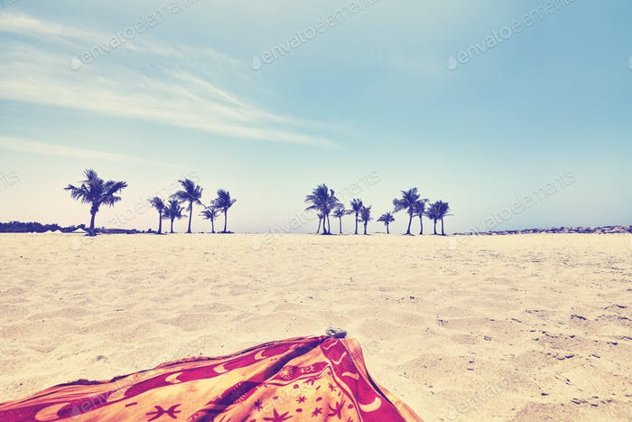Vintage toned picture of a beach, summer holidays concept.