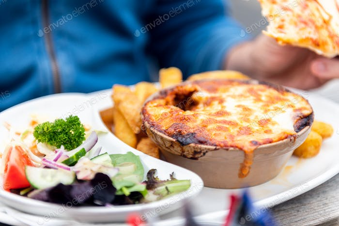 Lasagne and chips