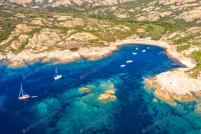 Aerial view of Corsican rocky coast